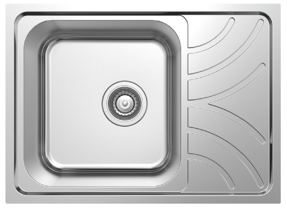 hidden-NCE 605mm One Piece Square Sink with Off-centre Drain